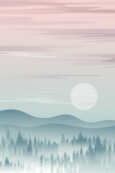 Vertical mountain landscape with silhouettes of misty pine trees in forest with sunrise, peaceful panoramic natural in minimalist style, natural background concept