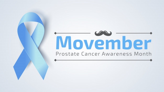 Vertical movember banner with blue ribbon