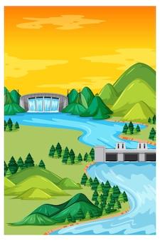ダムと昼間のシーンで垂直自然風景