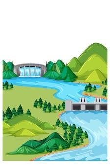 Paesaggio verticale della natura in scena diurna con dam