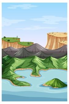 Scena di paesaggio naturale verticale con vista dall'alto della montagna
