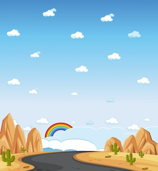 Vertical nature scene or landscape countryside with forest view and rainbow in blank sky at daytime