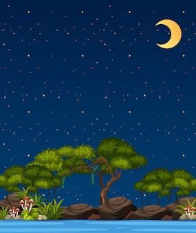 Vertical nature scene or landscape countryside with forest view and riverside blank sky at night