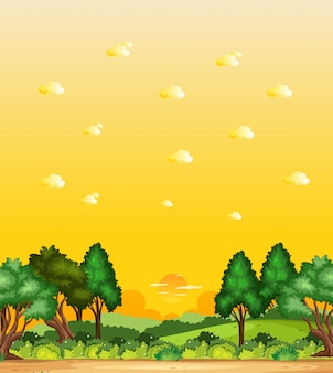 Vertical nature scene or landscape countryside with forest view and yellow sunset sky view