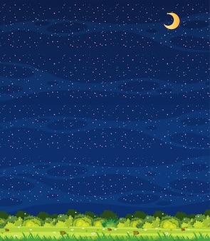 垂直方向の自然シーンまたは風景の田園地帯の牧草地の眺めと夜の空の空