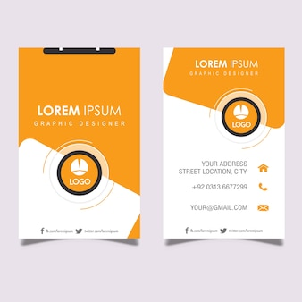 Vertical orange and grey business card