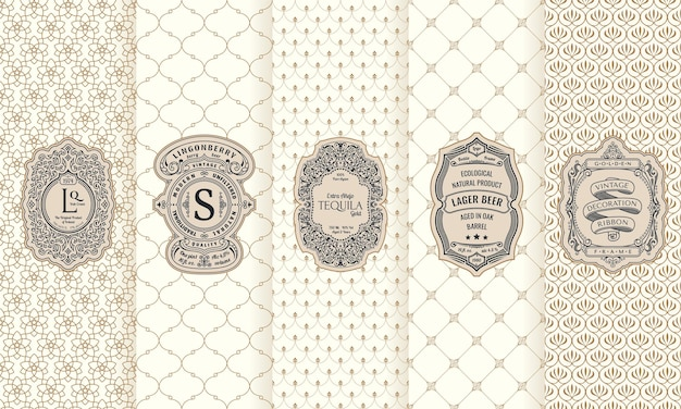 Vertical packaging frames and vintage cards luxury ornament labels