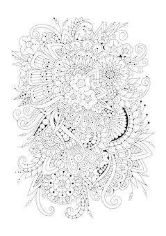 着色のための垂直ページ。黒と白の花、背景。