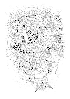 着色のための垂直ページ。ブラックホワイトの花の背景。