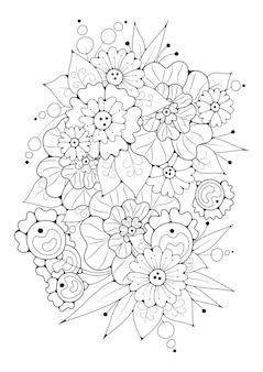 Вертикальная страница для раскраски. цветочный фон для окраски.