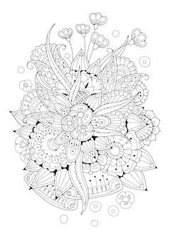 着色のための垂直ページ。花の白黒イラスト。