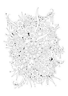着色のための垂直ページ。図。黒白の背景。
