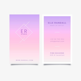 Vertical pastel gradient business cards set