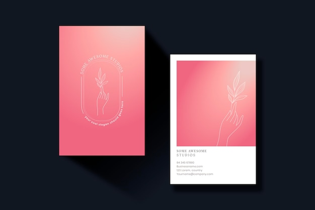 Vertical pastel gradient business cards