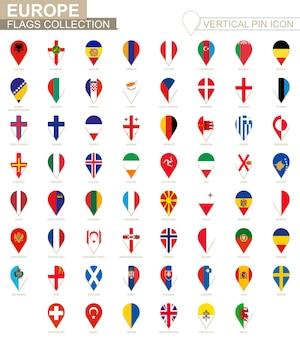 수직 핀 아이콘, 유럽 국기 컬렉션입니다.
