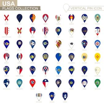 수직 핀 아이콘, 미국 상태 플래그 컬렉션입니다.