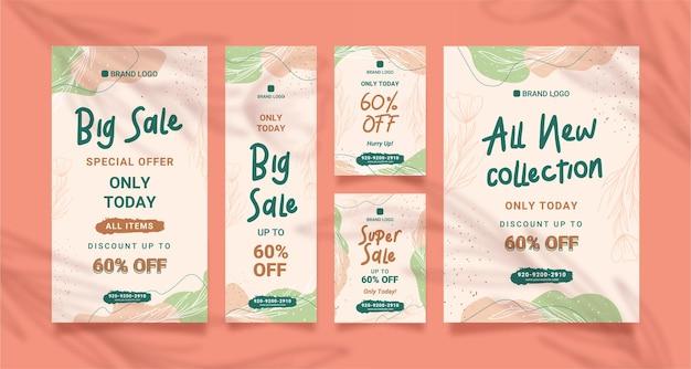 Vertical pink pastel botanical sale banner website template design