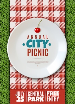 Vertical poster invitation to the annual city picnic family holiday banner white porcelain plate
