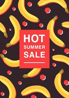 暑い夏のセールをテーマにした垂直のポスター。バナナ、赤いポリゴン、碑文の明るいプロモーションチラシ。カラフルな広告 Premiumベクター
