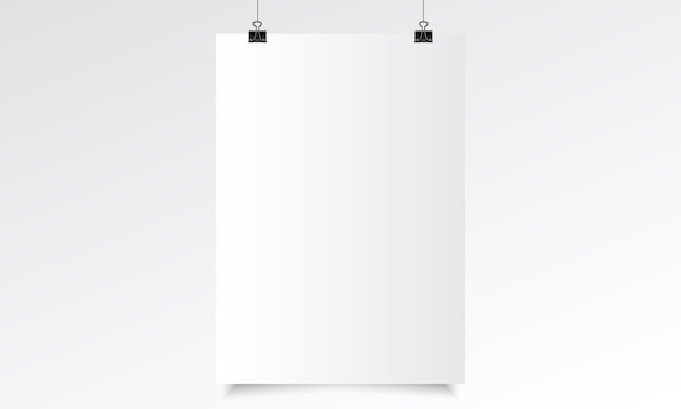 Vertical poster realistic mock up with hanging. blank paper realistic vector with hanging