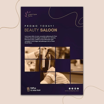 Vertical poster template for beauty salon