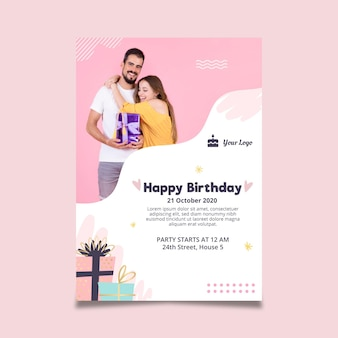 Modello di poster verticale per la festa di compleanno