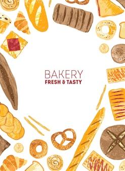 Вертикальный шаблон плаката, украшенный рамкой из хлеба и различных видов выпечки на белом фоне