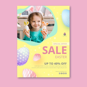 Vertical poster template for easter sale with adorable girl