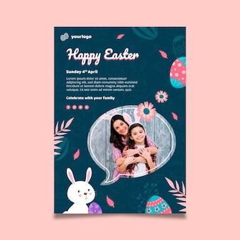 Modello di poster verticale per pasqua con coniglietto e famiglia