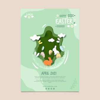 Modello di poster verticale per pasqua con uova e coniglietto