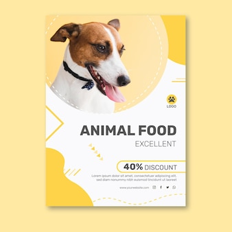 Вертикальный шаблон плаката для корма для животных с собакой