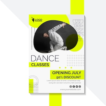 Вертикальный шаблон плаката для уроков танцев с исполнителем