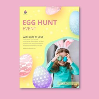 Вертикальный шаблон плаката для пасхи с яйцами и маленькой девочкой
