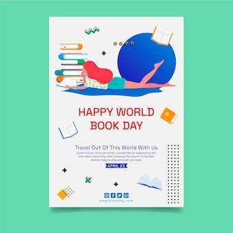 世界図書の日のお祝いのための垂直ポスターテンプレート 無料ベクター