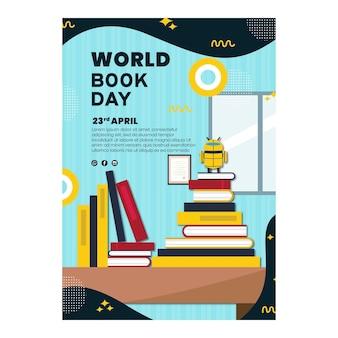 世界図書の日のお祝いのための垂直ポスターテンプレート