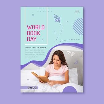 Вертикальный шаблон плаката для празднования всемирного дня книги