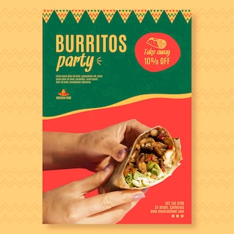 Vertical poster template for mexican food restaurant