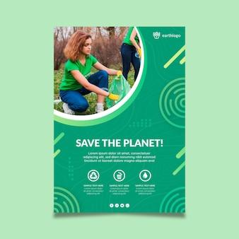 Modello di poster verticale per la celebrazione della giornata della madre terra
