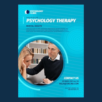 Vertical poster template for psychology therapy