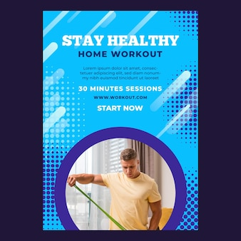 Vertical poster template for sport at home with male athlete