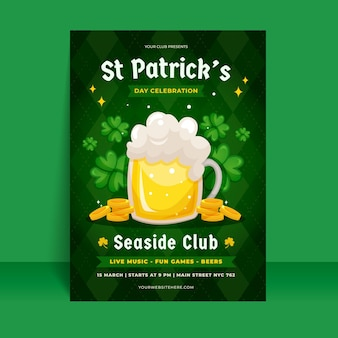 Vertical poster template for st. patrick's day with coins and beer