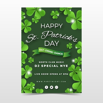 Vertical poster template for st. patrick's day with shamrock and greeting
