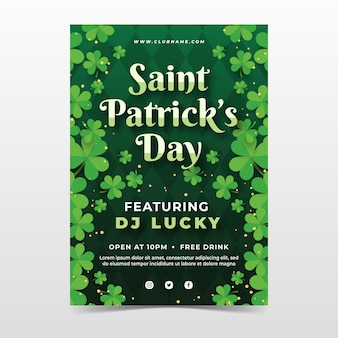 Vertical poster template for st. patrick's day with shamrock