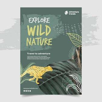 Modello di poster verticale per natura selvaggia con vegetazione e ghepardo