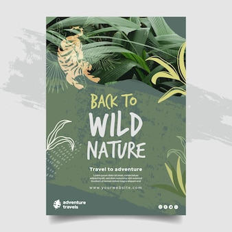 Vertical poster template for wild nature with vegetation and tiger