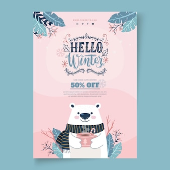 Vertical poster template for winter sale with polar bear