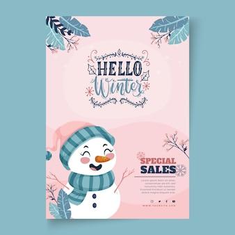 Modello di poster verticale per vendita invernale con pupazzo di neve