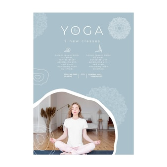 Vertical poster template for yoga practicing