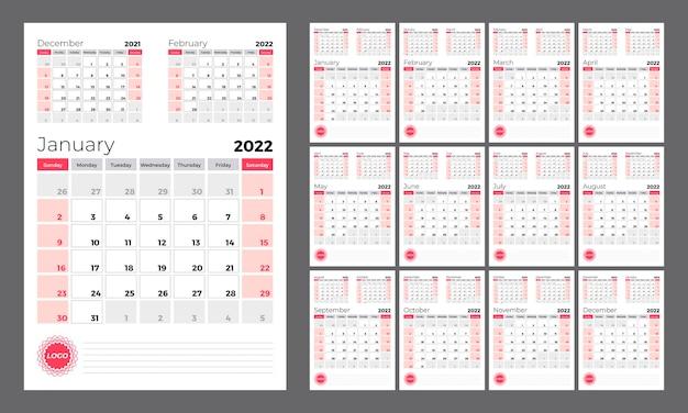 Вертикальный квартальный календарь на 2022 год. неделя начинается в воскресенье. набор из 12 шаблонов календарных страниц.