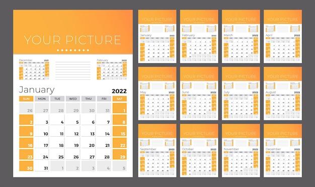 Вертикальный квартальный календарь на 2022 год. неделя начинается в воскресенье. набор из 12 страниц.